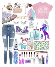"""""""Unicorn"""" by ashlynlixey-1 ❤ liked on Polyvore featuring Topshop, In Your Dreams, FCTRY, Too Faced Cosmetics, Urban Decay, Bling Jewelry, Forever 21, Casetify, NPW and Kate Spade"""