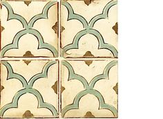 """Walker Zanger. I like how we tie in both the blue from the family room and the brown from the cabinets. This tile also has the updated geometric design but with the """"French country"""" material. Love it."""