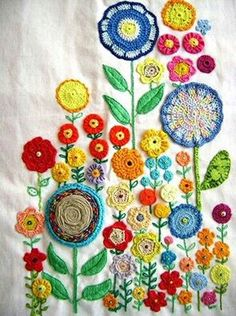 * colourful embroidery! Some crochet in there too! Swoon!