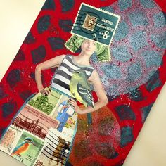 Stella Stamps was all ready for her job interview at the Post Office....#gelliarts #gelliplate #postagestamps #mailart postcard.