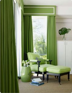 Accessories: Impressive Light Green Bedroom Decoration Using Light Green Bedroom Curtain And Drapes Including Light Green Bedroom Lounge Chair And Light Green Foot Stool In Bedroom, curtains for a bedroom, modern window treatments ~ Impressive Home Design Window Coverings, Window Treatments, Window Cornices, Window Blinds, Window Panels, Beach House Pictures, Spool Chair, Home Interior, Interior Design