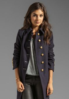 MARC BY MARC JACOBS Nicoletta Long Wool Coat in General Navy - Trench