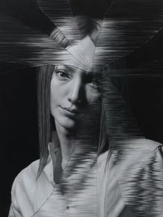 Dibujo hecho con lápiz negro por Taisuke Mohri, artista japonés nacido en 1983