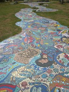 Mosaic Park art stream echoes Britannia community's original wish for a water stream in the park. Photo by J. Chong 2010. Vancouver BC