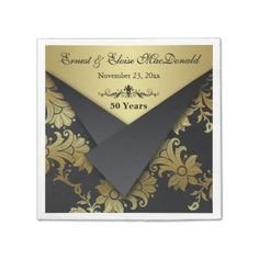 FAUX Flaps Floral 50th Wedding Anniversary Napkins Paper Napkins floral flowers custom paper napkins printed napkin anniversaries personalized black and gold golden wedding anniversary 50th 50 years customized bulk