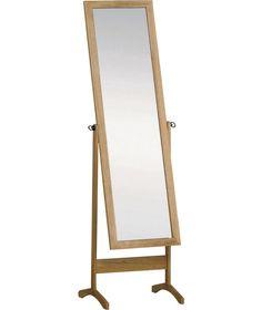 Wooden Full Length Cheval Mirror Oak Effect