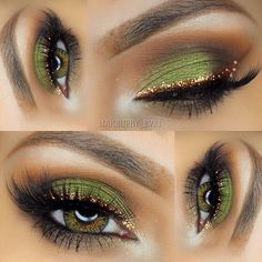 Eyeshadow Looks Gold eyeliner green eyeshadow Gold Eyeliner grünen Lidschatten Sexy Eye Makeup, Eye Makeup Tips, Makeup Goals, Pretty Makeup, Love Makeup, Skin Makeup, Makeup Inspo, Makeup Inspiration, Makeup Ideas