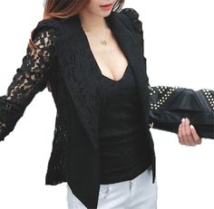 53f72319ff5a5 NEW Fashion Sexy Sheer Lace Patchwork Blazer Coat Lady Suit Outwear Women  OL Formal Slim Jacket