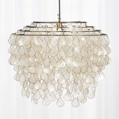 Teardrops Capiz Chandelier + Reviews | CB2 Capiz Chandelier, Modern Chandelier, Modern Pendant Light, Pendant Lighting, Beach House Lighting, Shell Frame, Safe Cleaning Products, Incandescent Bulbs, Hanging Lights