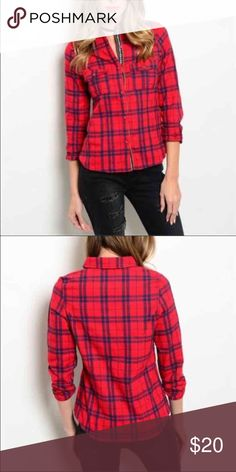 Red and blue plaid top Red and navy long sleeve button down plaid top  Material: 100% COTTON  Package: 1 Top Tops Button Down Shirts