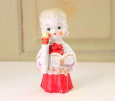 Vintage Enesco Choir Girl Alter Girl Figurine Holding Candle and Book Spaghetti Trim Figure Holiday Decor Christmas Caroling Church Singing by IguanaFindIt on Etsy