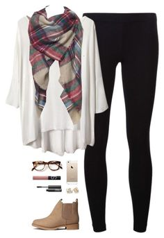 Piko, plaid blanket scarf, leggings, & booties.