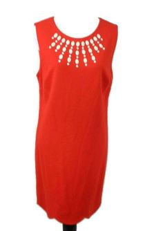 0c74a809bfda5 Details about Cynthia Steffe Womens Red Dress 12 Carlene Embellished Sheath  New. Designer ClothingColor ...