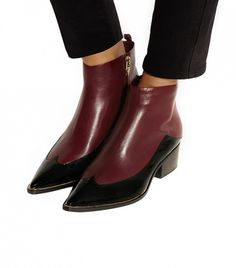 Nina Two-Tone Leather Ankle Boots by Sigerson Morrison // #Shopping #Shoes