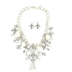 fleur/cross necklace. very pretty.