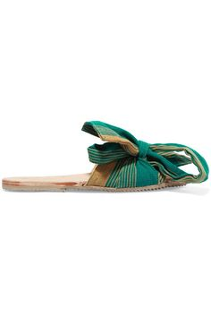 Brother Vellies - Burkina Bow-embellished Canvas Slides - Green - US11