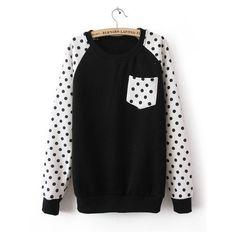 Black Long Sleeve Polka Dot Pocket Sweatshirt ($30) found on Polyvore
