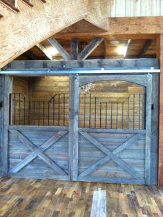 Barnwood horse stall dining area