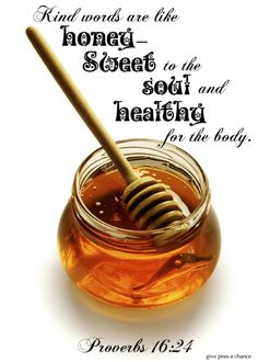 Kind words are like honey--sweet to the soul and healthy for the body.  Proverbs 16:24