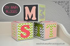 DIY Baby Blocks on Team Patterson at http://theteampatterson.blogspot.com/2013/09/diy-baby-blocks.html