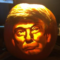 Donald Trump Pumpkin carved by my mother - Imgur