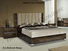 Eva Bedframe in High Gloss Rovere Monte with Optional Night Tables from Italian Chic Furniture. Italian Bedroom Furniture, Italian Chic, Night Table, Bed Frame, High Gloss, Tables, Modern, Home Decor, Mesas
