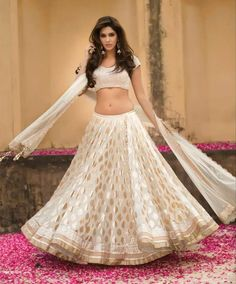 Simple white lehnga