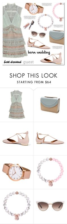"""""""Best Dressed Guest: Barn Weddings"""" by christianpaul ❤ liked on Polyvore featuring self-portrait, Lauren Cecchi, Aquazzura, Gucci, contestentry, bestdressedguest, barnwedding and christianpaulwatches"""