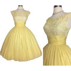 Vintage 1950s Dress //Jr. Theme //50s Dress //Yellow//Sexy//New Look //Femme Fatale//Rockabilly//Cocktail Dress//Party Dress