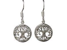 Sterling Silver Tree Of Life Drop Earrings Tree Of Life Jewelry, Butterfly Jewelry, Body Jewellery, Sterling Silver Jewelry, Washer Necklace, Women Jewelry, Drop Earrings, Steel, Drop Earring