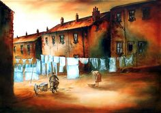 Bob Barker is a UK based artist, born and bred in Yorkshire. It's taken Bob Barker twenty years for his long time love of painting to evolve from a hobby to the point where interest in his work has taken on worldwide awareness. Irish Painters, Nostalgic Art, Bob, Clothes Line, Watercolor Paintings, Watercolors, Animation, Artwork, Laundry
