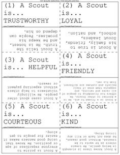 Use these flash cards to memorize the meaning of the Boy Scout Law. Free to… Cub Scout Oath, Boy Scout Law, Cub Scouts Wolf, Beaver Scouts, Tiger Scouts, Girl Scout Leader, Girl Scout Swap, Cub Scout Activities, Scout Games