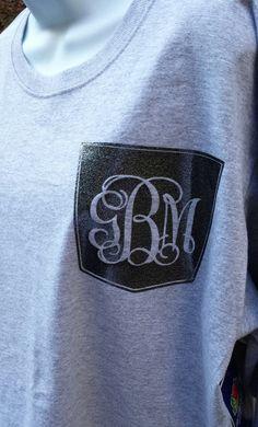 Monogram Personalized T Shirt - Long Sleeve - Glitter Faux-Pocket with Monogram - Heat Press Long Sleeve Tee on Etsy, $19.99