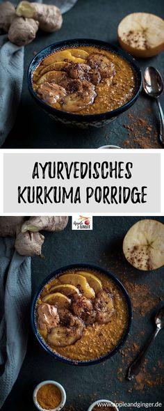 Ayurvedischer Kurkuma Porridge zum Frühstück- #Vegan #Laktosefrei #Vegetarisch #Zuckerfrei #ayurveda #porridge #oatmeal #frühstück- www.appleandginger.de