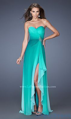 La Femme Strapless Ombre Prom Gown at SimplyDresses.com