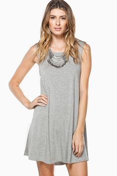 ShopSosie Style : Shift Away Dress in Grey