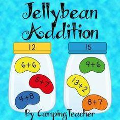 Jellybean Addition Math Center for Easter and. by CampingTeacher Math Classroom, Kindergarten Activities, Teaching Math, Teaching Ideas, Easter Activities, Future Classroom, Activity Centers, Math Centers, Fun Math