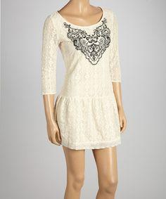 Look at this #zulilyfind! Beige Lace Filigree Drop-Waist Dress #zulilyfinds