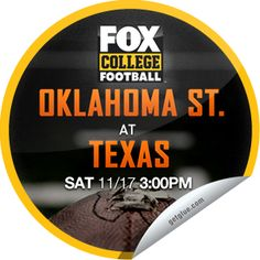 Steffie Doll's Fox College Saturday Ohio State Buckeyes at California Golden Bears Sticker Fresno State, Oklahoma State Cowboys, Arizona State, Ohio State Buckeyes, Texas Longhorns, Arizona Wildcats, Fox Football, College Football, Raiders Stickers