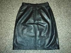 Black Vintage 1980's OPUS Genuine Leather Mini Skirt