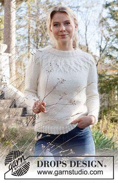 Ladies Cardigan Knitting Patterns, Jumper Knitting Pattern, Knitting Patterns Free, Knit Patterns, Free Knitting, Drops Design, Sky E, Drops Patterns, Pulls