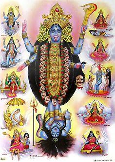 Goddess Kali and Ten Mahavidyas - Hindu Posters (Reprint on Paper - Unframed) Saraswati Goddess, Kali Goddess, Indian Goddess, Durga Maa, Shiva Shakti, Kali Shiva, Hanuman, Maa Kali Images, Durga Images