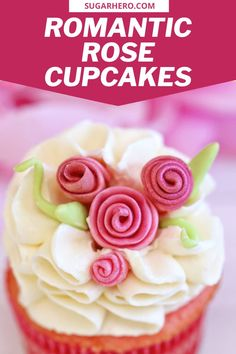 These flower cupcakes are decorated with fondant ribbon roses, one of the fastest and easiest fondant decorations you can make! They come together in just a few minutes and are the perfect romantic touch for any cake or cupcake. Perfect for Valentine's Day or any special occasion. |From SugarHero.com #sugarhero #valentinesdaycupcakes #rosecupcakes #fondantroses #cupcakedecorating
