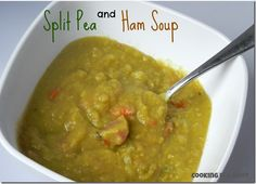 split pea and ham soup. full of flavor without having to use a ham bone. bacon simmering with the soup is the secret weapon. you won't be dissapointed with this one!