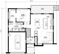 Plans modern house to dream of, leguë architecture Modern Ranch, Mid-century Modern, Plane, Garage, Modern House Plans, Architecture, Mid Century, Floor Plans, Construction