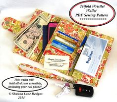 womens wallet sewing pattern pdf wallet by ShawnaLaneDesigns. Fits everything even your smart phone.