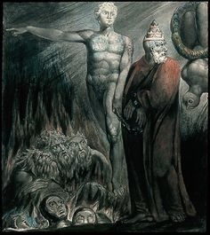 William Blake ; Lucifer and the Pope in Hell (King of Babylon)      Lucifer and the Pope in Hell (The King of Babylon)  William Blake
