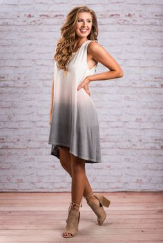 """""""Fade To Fab Dress, Ivory-Charcoal"""" This ombre dress is both fab and casual! We know you are going to LOVE those colors! The wispy pink before the gray starts to fade in is such nice little touch! #newarrivals #shopthemint"""