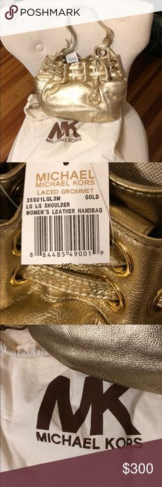 NWT MICHAEL KORS LARGE GOLD LACED GROMMET HANDBAG! NWT MICHAEL KORS LARGE GOLD LACED GROMMET HANDBAG! 100% Authentic. 100% leather. NEVER WORN! Gold hardware! Interior snap closure. Comes with dust bag! Retail-$400 Michael Kors Bags Shoulder Bags