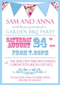 10 Personalised Birthday Invitations BBQ Garden Party Vintage Bunting Tea Party | eBay